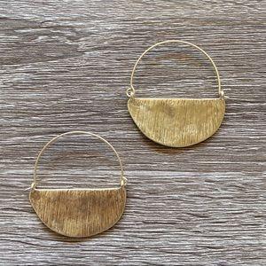 NWT Anthropologie Golden Half-Round Hoop Earrings
